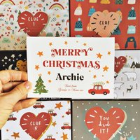 Christmas Treasure Hunt And Personalised Card Set