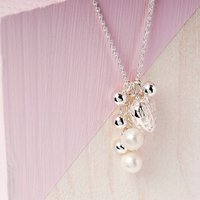 Heart Sterling Silver Necklace With Pearl Charms, Silver
