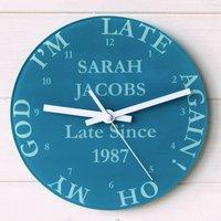 Late Again Clock, Plum/Sky Blue/Blue