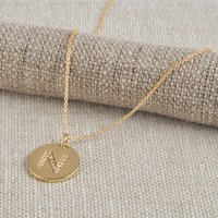 18ct Gold Coin Necklace With Diamond Initial, Gold