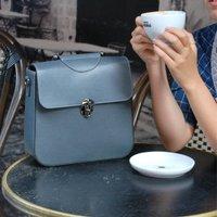 Collette Vintage Style Leather Handbag Grey