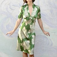 Midi 1940s Style Dress In Hydrangea Print Silk Satin