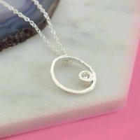 Silver White Topaz Oval Necklace, Silver
