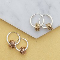 Gold/Rose Gold Nest Silver Hoop Earrings, Silver