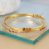 Gold Garnet Ruby Birthstone Triple Stone Bangle, Gold