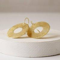 Large Organic Cutout Disc Drop Earrings