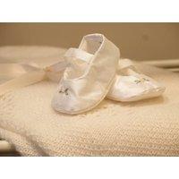 Silk Bella Christening Shoes, White/Pink/Ivory