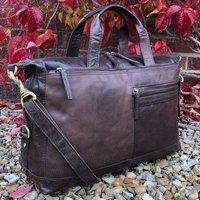 Brown Leather Flight Bag, Business Travel Bag, Gym Bag