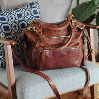 Hampton Leather Handbag Tote With Zip Pocket