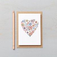 English Garden Floral Heart Card