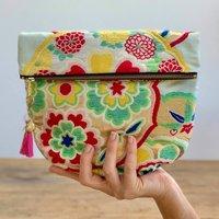 Bold Floral Vintage Kimono Clutch Bag