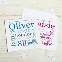 New Baby Birth Announcements: Typographic Style, Pink/Blue