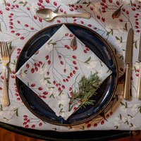 Luxury Christmas Napkin Sets Robin And Berries Grey