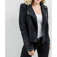 Ladies Suede Leather Biker Jacket