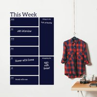 Write And Erase Weekly Planner Wall Decal Sticker, Cobalt Blue/Blue/Violet