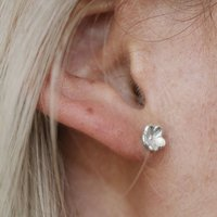 Sterling Silver Forget Me Not Flower Stud Earrings, Silver