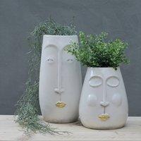 White And Gold 'Lippy' Vases