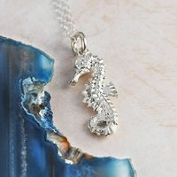 Sterling Silver Seahorse Nature Pendant Necklace, Silver