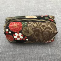 Japanese Floral Crane Cotton Zip Pouch