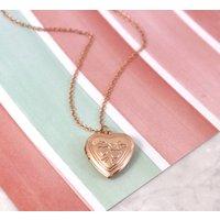 Rose Gold Vintage Heart Locket Necklace, Gold