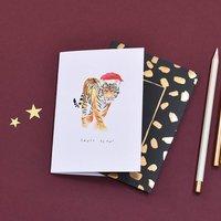 Santa Claws Tiger Christmas Card