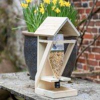 Wooden Bird Feeder Table With Bird Food