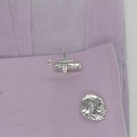 Churchill And Spitfire Cufflinks In Sterling Silver, Silver