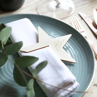 Eight Personalised Wooden Star Napkin Holders