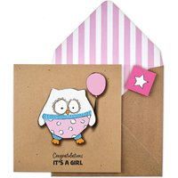 Handmade Congratulations It's A Girl Owl Card