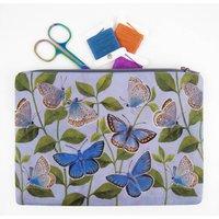 Butterflies Printed Silk Zipped Bag