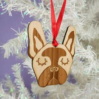 French Bulldog Wooden Christmas Decoration, Red/Pale Pink/Pink