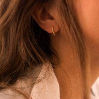 Minimalist Gold And Silver Huggie Hoop Earrings, Silver