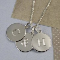 Solid Silver Initial Disc Charm Necklace, Silver