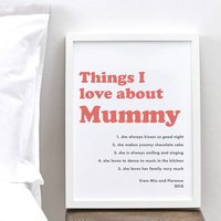 Personalised Things I Love About Mum Retro Print