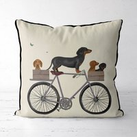 Dachshunds On Bicycle Decorative Cushion
