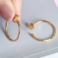18ct Gold Vermeil Polished Hoop Earrings, Gold