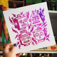 Retro Robot Gang Foil Print
