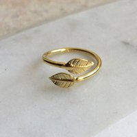 Adjustable Double Leaf Charm Ring In Gold Vermeil, Gold