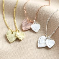Personalised Double Hammered Heart Charm Necklace