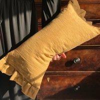 Oblong Frilly Cushions Linen Gingham Pillow