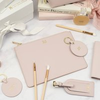Personalised Blush Pink Leather Pouch