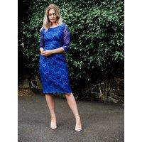 Royal Blue Lace Pencil Dress