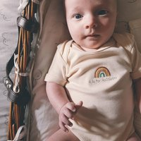 R Is For Rainbow Embroidered Natural Baby Bodysuit