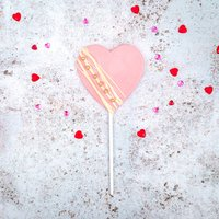 Pink Chocolate Heart Shaped Lolly