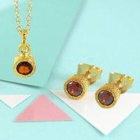 Fine Garnet January Birthstone Gold Jewellery Set, Gold