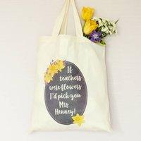 Spring Flower Personalised Teachers Tote Bag