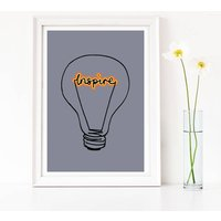 Gift For A Teacher, 'Inspire' Lightbulb Art Print, Cool Grey/Grey/Dark Blue
