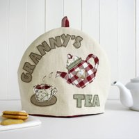 Personalised Name Tea Cosy Gift, Cream/Red/Blue