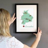 Lancashire County Map Illustration Print