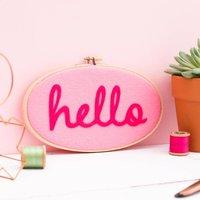 Felt Hello Embroidery Hoop Artwork, Pink/Orange
